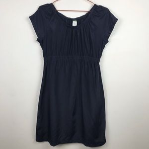 J Crew Metallic Navy Silk Skater Dress Size Small